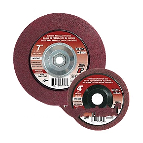 Surface Preparation Wheel, 4-1/2 x 5/8-11, Fine Grit Aluminum Oxide (10) - Surface Preparation Wheel, Pearl Abrasives #NW45MFH, 4-1/2 inch Diameter x 5/8-11 inch Center Hole, Maroon Fine Grit Aluminum Oxide, 13,3000 RPM. 10 Disc/Box. Price/Box.