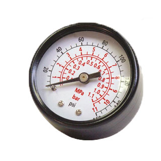 Senco 0-160 PSI Air Pressure Gauge 1/8 in. MPT - SENCO #PC0057 0-160 PSI AIR PRESSURE GAUGE, 1-1/2 in. FACE, BACK MOUNT, 1/8 in. MPT