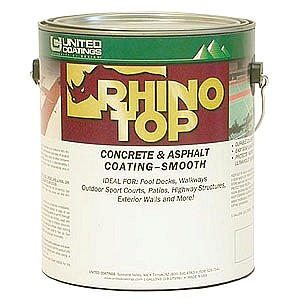 Rhino Top Epoxy-Acrylic Concrete/Asphalt Coating, TEXTURED TINTED, 1G - RHINO TOP ACRYLIC-EPOXY CONCRETE / ASPHALT COATING, TEXTURED, TINTED. 1-GALLON CAN. PRICE/CAN. (Specify Color before adding to cart; 3-5 business day leadtime)