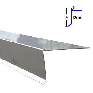 Low Rise Roof Edge Metal 3 X 3 In X 10 Ft 26 Ga Galv